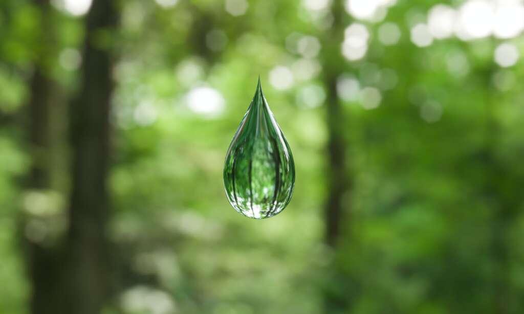 Clear drop of liquid