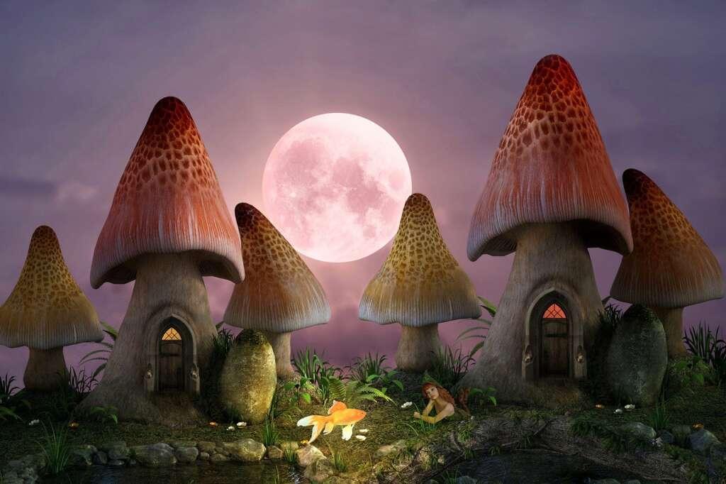 Art depicting mushroom houses under a large full moon