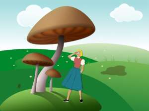 Illustration of woman under giant mushrooms in a field